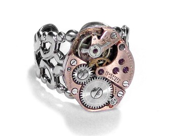 Steampunk Jewelry Ring Vintage Jewelry ROSE GOLD Watch Mens Womens Steam Punk Ring Anniversary Holiday Gift - Jewelry by Steampunk Boutique