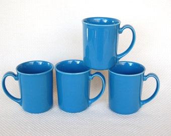 Set of 4 Vintage Corning Mugs COUNTRY VIOLETS Corning Stoneware Vibrant Blue Mugs
