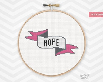 NOPE counted cross stitch pattern, easy & funny xstitch pdf