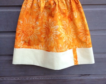 Golden yellow sunflower skirt / Spring and summer skirt / Girls bathing suit cover up / Yellow patchwork skirt / Size 4-6 / Ready to ship