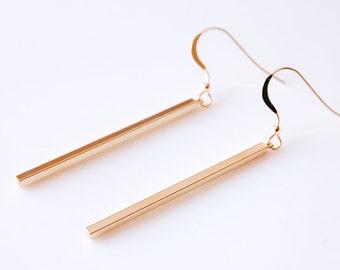 Gold Bar Earrings Simple Long Dangle Earrings Minimalist Earrings Vertical Bar Earrings Minimal Earrings Skinny Bar Earrings Gift For Her