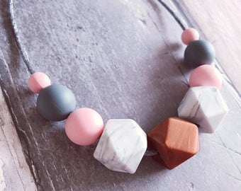 Silicone Teething/Nursing Necklace. 'Mae' marble/Pink Breastfeeding Necklace. Chewelry Mommy Necklaces. New Mom Necklace. Silicone Teether