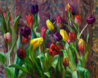 Tulips - original oil painting, alla prima oil painting, one of a kind