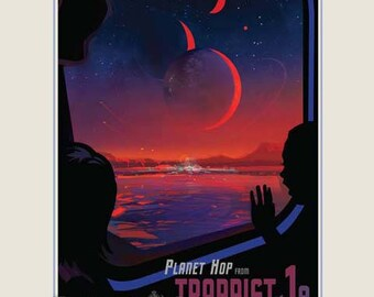Exoplanet Poster TRAPPIST-1e - NASA JPL Space Travel Poster - Travel Print Art - Home Decor - Science Fiction Poster - Future Travel