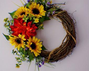 Front Door Wreaths, Wreath for Front Door, Sunflower Wreath, Yellow Wreath, Daisy Wreath, Mums Wreath, Fall Wreath, Thanksgiving