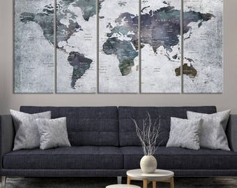 XLarge Watercolor Push Pin World Map Canvas Print - Personalized Dark Coloured World Map with Country Names on White Gray Background Canvas