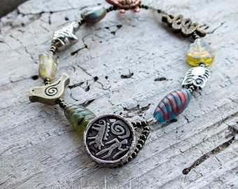 Spirit Animal Bracelet    Bird Owl Snake Fish Turtle   Button Closure   Animal Lover   Earthy   Organic   Nature Lover Bracelet Under 20