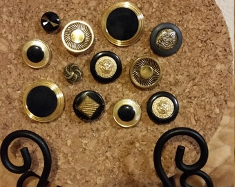 12 Decorative Black and Gold Vintage Button Push Pin Tacks