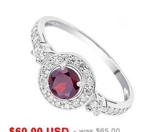 Antique Garnet Ring Garnet Engagement Ring Halo Engagement Ring Garnet Promise Ring for Her January Birthstone Ring Garnet Wedding Ring