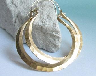 Large Brass Hoop Earrings, Rio Hoops, Mixed Metal Earrings, Big Forged Hoops, Bronze Hoops, Sterling Silver And NuGold Earrings, Big Hoops