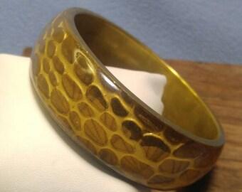 Lucite on Brass Bangle Bracelet with Interesting Design
