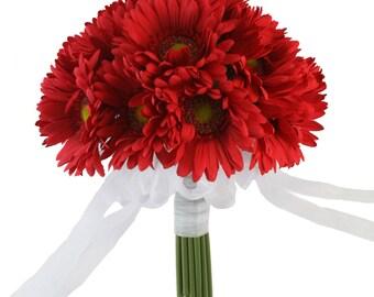 Red Gerbera Daisy Bouquet - Bridal Wedding Flowers- 18 Stem