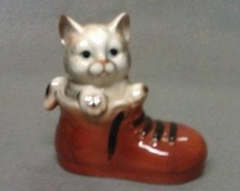 Enesco Grey and Beige Cat in Brown Shoe Cat Figurine