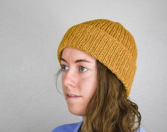 Classic knit beanie, merino wool hat, mustard yellow hat, womens beanie, mens beanie, fishermans hat, folded brim hat, cuffed beanie