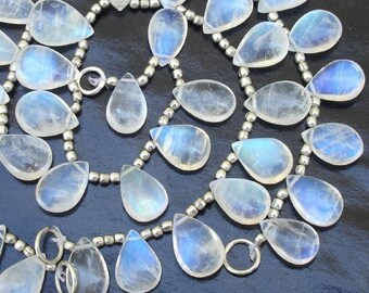 New Arrival, Blue flashy Rainbow moonstone SMOOTH PEAR shaped briolettes 50 ctw, 15 pcs 9-14mm