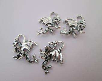 4 breloque dragon médiéval 21 x 14 mm en métal argenté