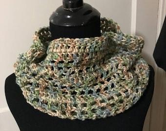 Clearance - Crochet Neck Cowl/Muffler - Muted Camo / Earth Tones