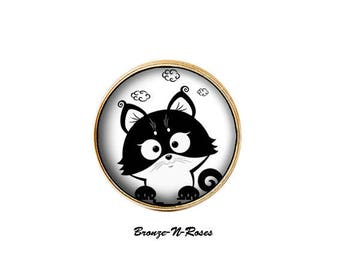 """Funny little black cat"" ring bronze jewelry fantasy glass cabochon"