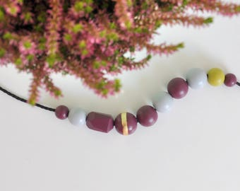 Wooden bead necklace. Beaded necklace. Wooden necklace. Modern jewelry. Purple necklace. Gold necklace. Gift for her. Gift for her.