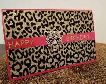Red Leopard Medallion Birthday Card