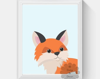 Fox print, nursery Fox printable, Modern print, Nursery Fox Print, Woodlands Decor, Printable Art, Kids, Fox Art,  Nursery Woodlands