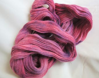 100 % Alpaca - Hand Dyed/Painted - Pink & Purple - 3 Ply DK Weight Yarn  - 250 Yds - 12-14 WPI