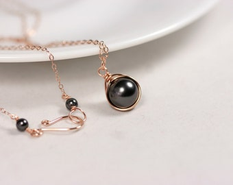 Rose Gold Black Pearl Ring Wire Wrapped Jewelry Handmade Rose