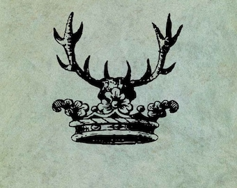 Crown with Antlers - Antique Style Clear Stamp