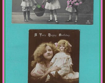 2 Antique Birthday Postcards - With King George V Stamps - Approx 1915