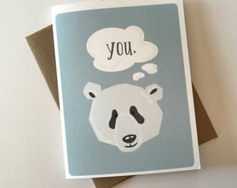 Thinking of You A2 Card with Envelope / Thoughtful / On My Mind / Panda / Love You / Baby Blue / Cute Cuddly Zoo Animals / Word Bubble