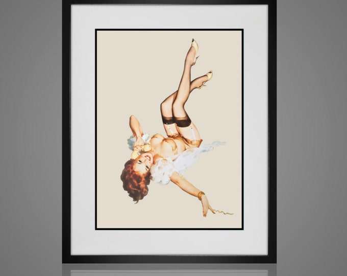 Framed Wall Art - PIN-UP WALL Art - Free Shipping -  Framed And Matted - Available In 4 Sizes - Choose Black or Antique White Frames -