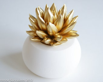 Gold Succulent Sculpture with White Planter, Desktop Office Accessories, Modern Minimalist Home Office Decor