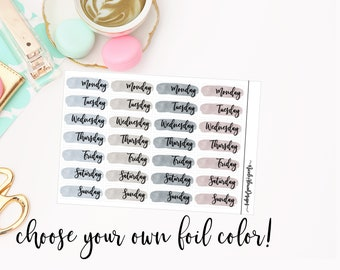 FOIL Neutral Date Covers, Foil Planner Stickers