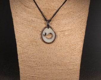 Carved Whale Tagua Nut Necklace