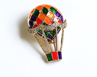 Colorful Enamel  Vintage Brass Rhinestone Hot Air Balloon Brooch, Pin & Clips, Handmade Jewelry, Unique Gifts, Vintage Charm