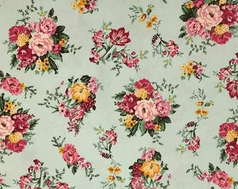 floral on mint fabric by the yard cotton fabric floral prints pink floral pink floral yellow floral cotton by the yard turquoise floral