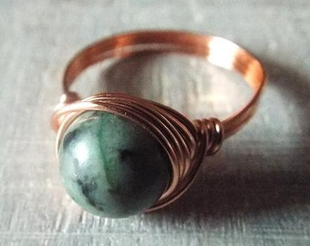 Copper Ring - African Turquoise Ring - Jasper Ring - Wire Wrapped Ring - Copper Wire Ring - Copper Turquoise Ring - Kwanzaa Gift - African