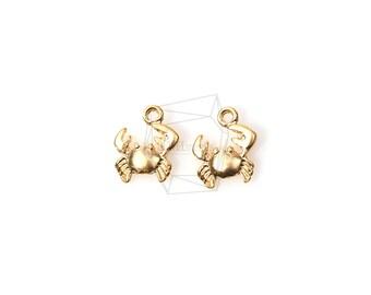 PDT-698-MG/5PCS/Matte Gold Plated Crab Pendant/8mm x 7mm