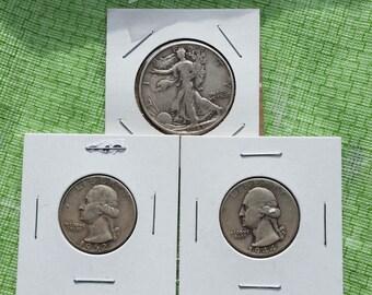 US silver coins, Walking Liberty half and Washington quarters #J898B