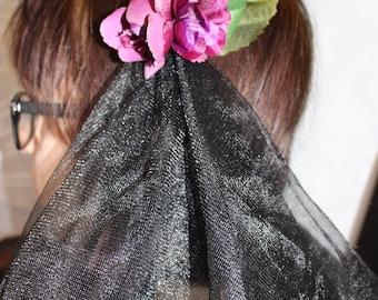 Dark Queen Veil Barrette with Flowers