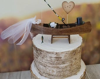 Canoe-boat-wedding-cake topper-rustic-fishing-woodland-fisherman-row boat-bride-groom-Mr and Mrs-country-hunting-camo-custom-ivory veil