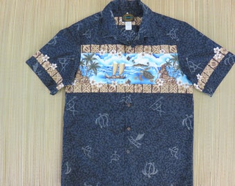 Black Hawaiian Shirt HAWAIIAN RESERVE COLLECTION Turtle Tribal Aloha Shirt Outrigger Surfer 100% Cotton Camp Men - M- Oahu Lew's Shirt Shack