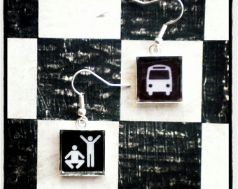 """earrings """"bus station""""- black and white"""