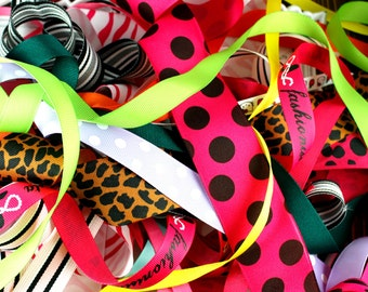 20 Yard GRAB BAG - Grosgrain Ribbon Assortment Scraps OVER 1 yard in all sizes and colors