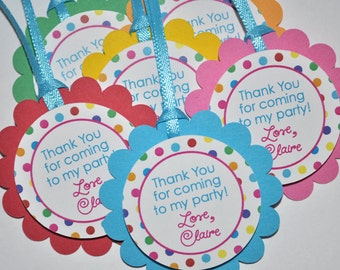 Favor Tags Birthday Party - Colorful Polkadots - Girls Birthday Party Decorations - Party Favor Tags - Set of 12