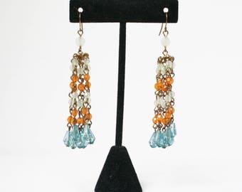 Vintage Chandelier Beaded Dangle Earrings Boho Chic Hippie 70s  Pierced Aqua Gold Tone Cha Cha Blue Orange