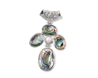 Abalone Shell Four Oval and Freshwater Pearl Pendant in Silver-tone without Chain
