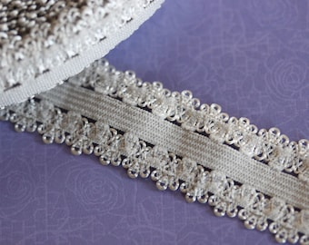 grey elastic Ribbon with lace