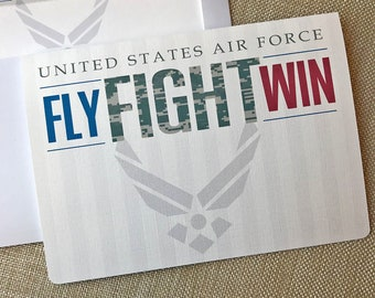20#, Air Force Card, Basic Training Card, Military Encouragement Card, Fly Fight Win Card, Air Force Camo Card, Proud Air Force Mom Card