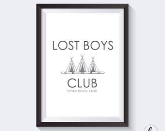 Peter Pan A4 print - lost boys club - home decor, bedroom, nursery - Disney quotes